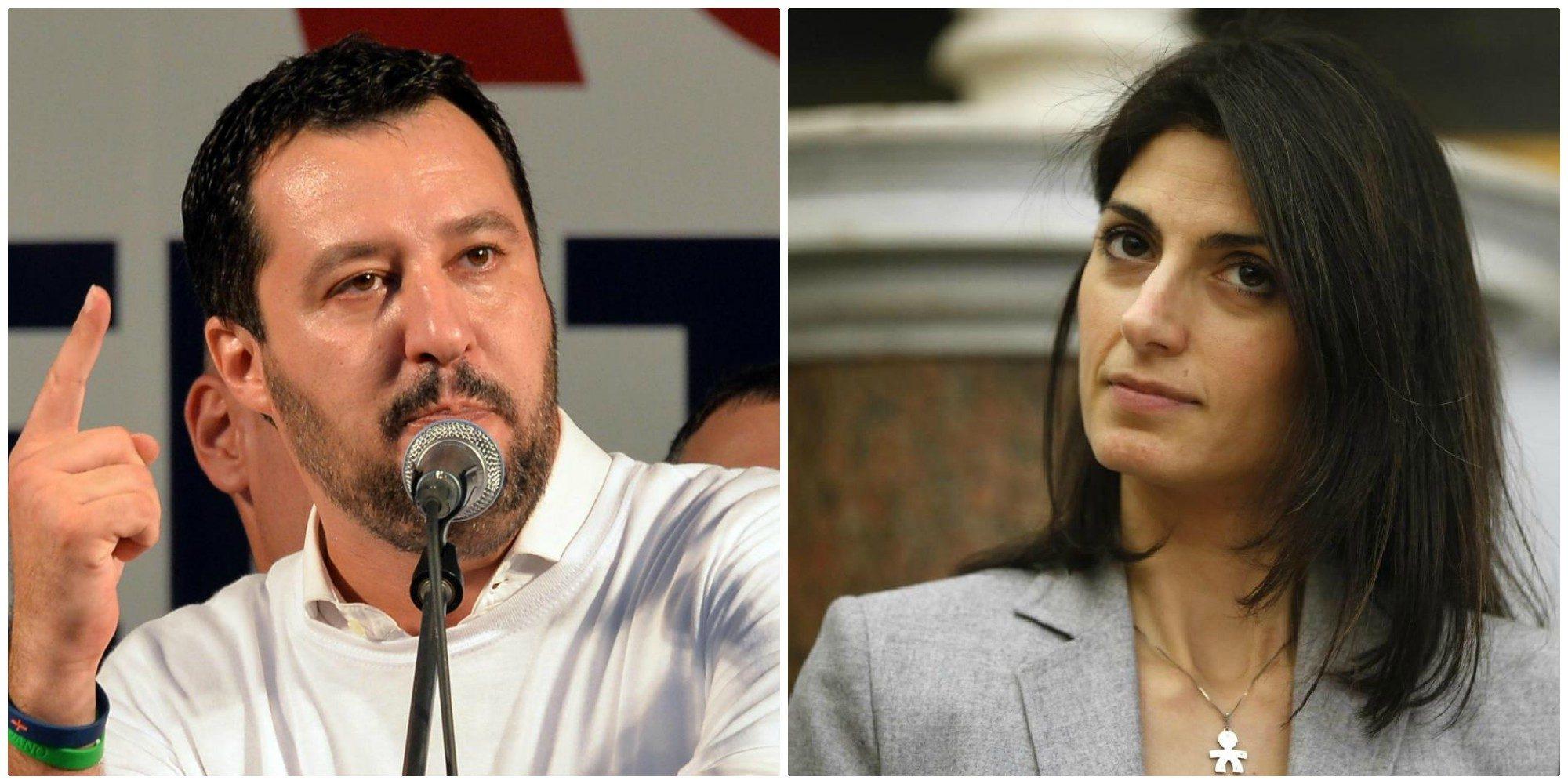 Il ministro Salvini e la sindaca di Roma Raggi