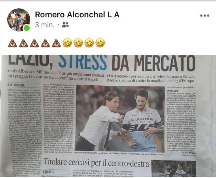 Il post su facebook di Luis Alberto