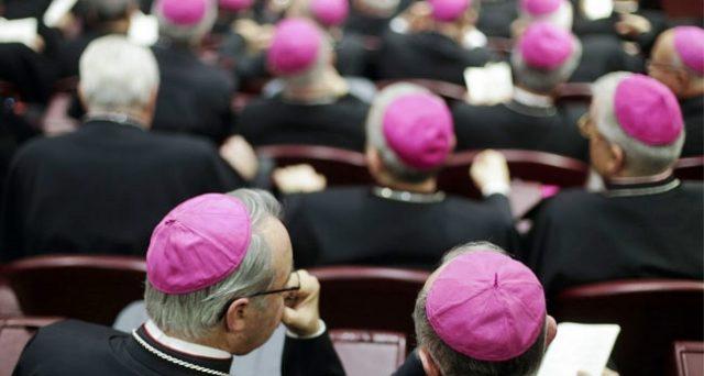 Un vescovo e vescovi in riunione