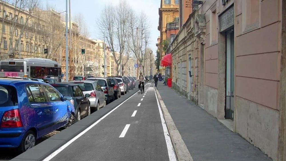 Nuova pista ciclabile su via Nomentana